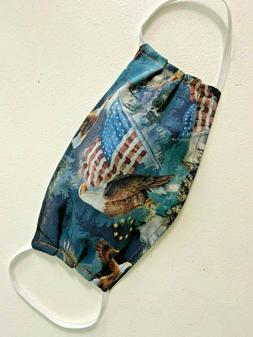Reusable Washable MENS Fabric Cloth PATRIOTIC FLAG Face Mask