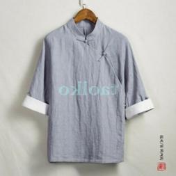 Summer Ethnic Retro Mens Cotton Linen T Shirts Han Chinese C