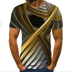 Summer Men 3D T-Shirt Short Round neck Tee Tops Printing Sle
