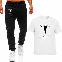 Tesla Logo Pants T-shirt Set For Men Fashion Suit Short Slee