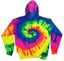 Tie Dye Hoodie Hooded Sweatshirt Rainbow Spiral Design Tie D