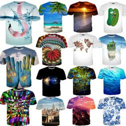 Tops Women's Men 3D Print Pattern Funny Short Sleeve Clothes