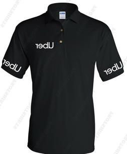 UBER text on both sleeves NEW UBER Drivers Men's Polo Shirt