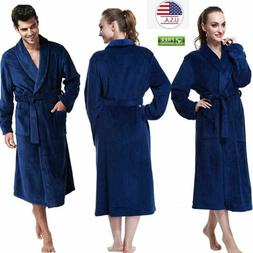 Women's Men's Plush Shawl Bathrobe Home Clothes Long Sleeved