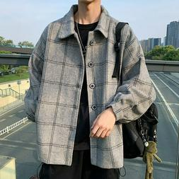 Woolen Coat Men's Clothes Loose Jackets Turn-down Collar Off